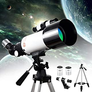ZIHRA 2021 Upgraded Kids Telescope 70mm Apeture Travel Telescope 400mm AZ Mount, Good Companion to View Moon and Planet, P...