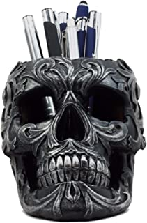 Ebros Gift Tribal Tattoo Floral Skull Pen Holder Figurine 5.75