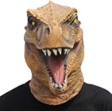 CreepyParty Dinosaur Mask T-rex Head Latex Realistic Animal Full Head Mask for Halloween Costume Party Carnival Cosplay