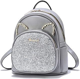 Mädchen Mini Rucksack Pailletten Süß Leder Geldbörse Katzenohren Frauen Daypacks