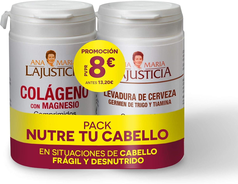 Ana Maria Lajusticia – Pack NUTRE TU CABELLO – Colágeno con Magnesio y Levadura de cerveza con germen de trigo y tiamina. Aportar los nutrientes que ...
