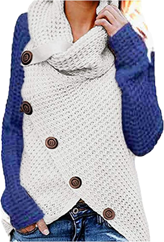 Futurelove Womens Color Block Turtleneck Hoodies Pullover Long Sleeve Loose Sweatshirts Tunic Tops Sweaters Oversized