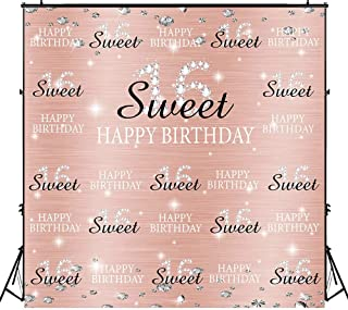 Funnytree 6x6ft Rose Gold Pink Sweet 16th Birthday Party Backdrop Princess Girl Step and Repeat Diamonds Glitter Shiny Photography Background Sixteen Years Old Age Decoration Banner Photo Booth
