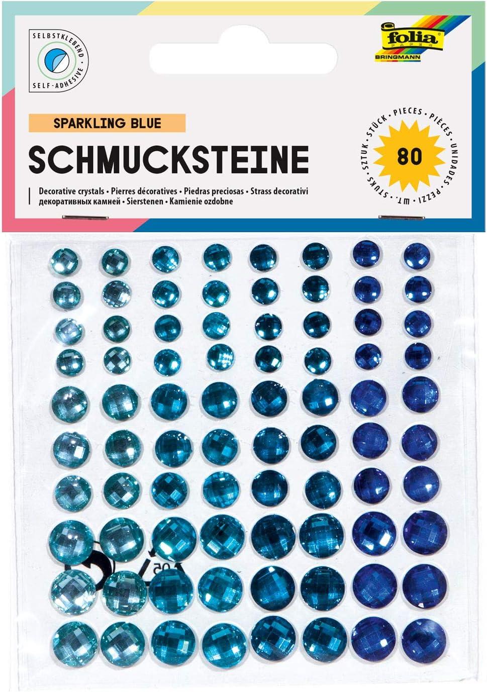 Deko Schmucksteine Crystal Rainbow ideal zum Verzieren und Dekorieren Ihrer Bastelarbeiten mit Diamantschliff folia 12307 80 St/ück selbstklebend