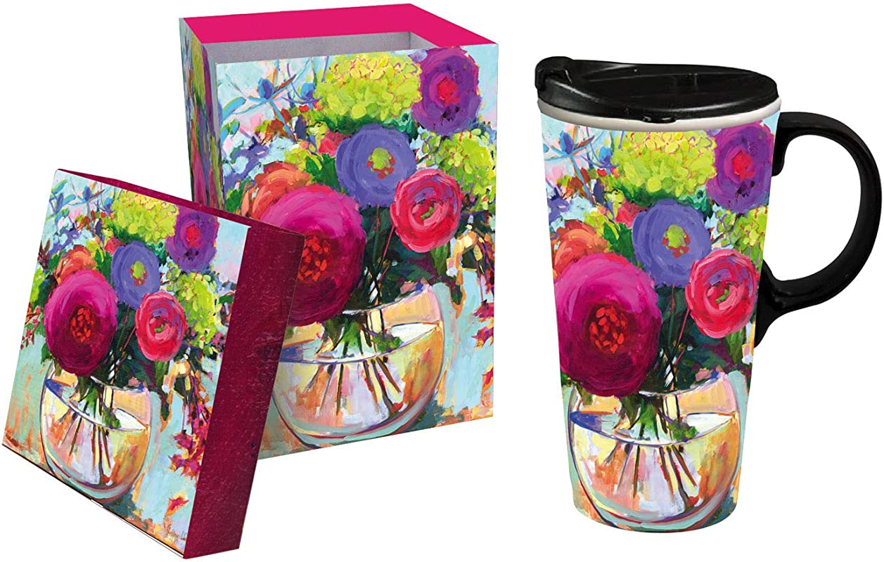 Flower Shop 17 OZ Ceramic Travel Cup 4 X 5 X 7 Inches