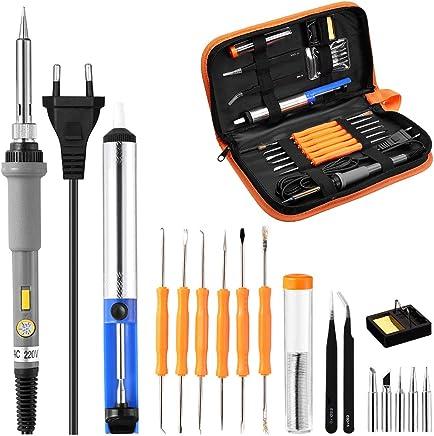 Powerextra Kit Soldador Soldador Electrónica de Estañoo con Caja de Herramienta 220V 60W Soldadores Temperatura Ajustable