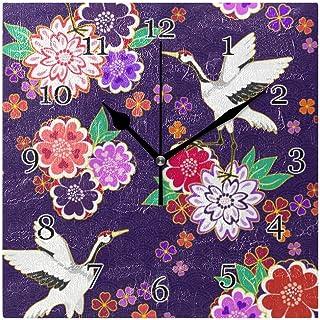 Japansk blomma fågel trana väggklocka tyst icke-tickande fyrkantig konstmålning klocka för hem kontor skoldekor