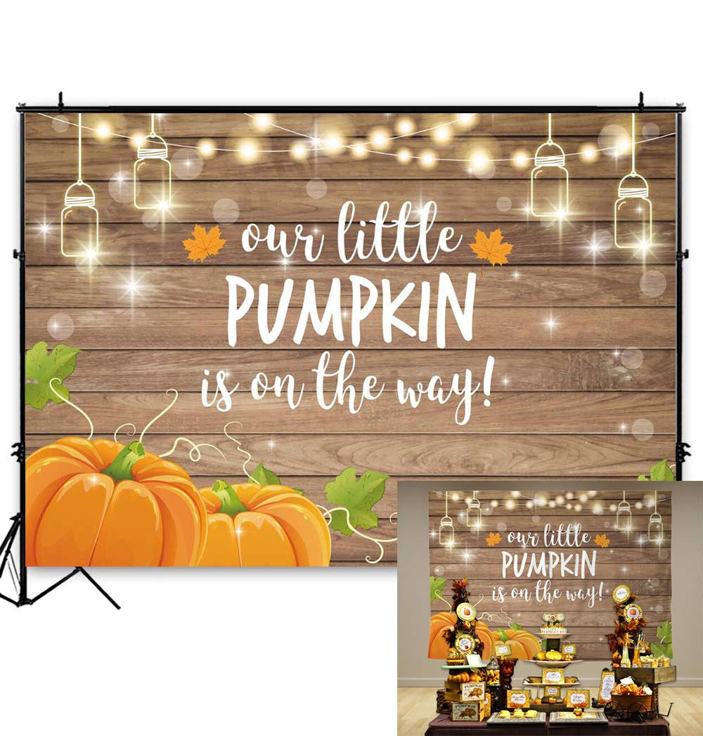 Amazon Com Allenjoy Pumpkin Rustic Wood Baby Shower Backdrop Autumn Our Little Pumpkin Boy Girl Is On The Way Welcome Party Decorations Baby Is Brewing Theme Cake Table Banner 7x5ft Background Photo