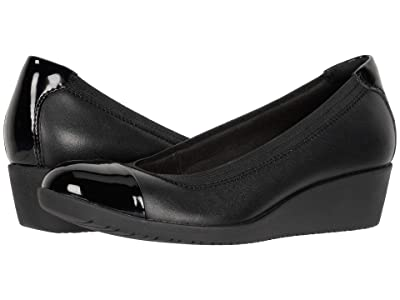 Clarks Elin Palm (Black Leather/Synthetic Patent) Women