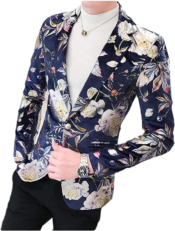 Mens Floral Printed Single Button Jackets Sacramento Mall Premium Blazer Ranking TOP1 Select