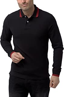 Charles Wilson Men's Long Sleeve Contrast Tipped Polo Shirt
