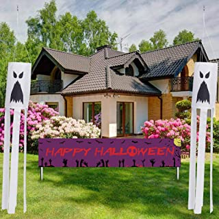 طقم أعلام من 4 قطع من Opopark مطبوع عليه شبح الرياح في الخارج لتزيين الفناء الأمامي لحديقة المنزل وديكور الحفلات (أبيض)