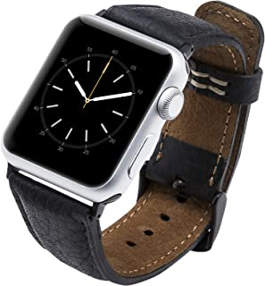 Venito Tuscany Handmade Premium Leather Watch Band Strap Compatible with The Newest Apple Watch iwatch Series 5 as Well as Series 1,2,3, 4 (Black w/Black Stainless Steel Hardware, 42-44mm)