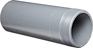 Spears 188N Series PVC Pipe Fitting,  Nipple,  Thread on One End,  Schedule 80,  Gray,  1 NPT Male x Socket,  2 Length