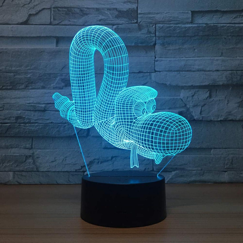 Laofan Schlange Led 3D Lampe Tier 3D Visuelle Nachtlichter Für Kinder Remote Touch USB Tisch Baby Schlafen Nachtlicht Kinder Geschenk,Fernbedienung