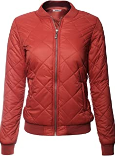 BodiLove Women's Classic Padded Down Bomber Jacket with Zipper