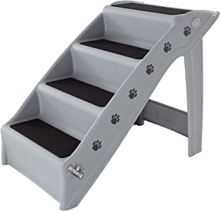 Folding Plastic Pet Stairs Durable Indoor or Outdoor 4 Step Design With Built-in Safety Features For Dogs Cats Home Travel by PETMAKER – Gray