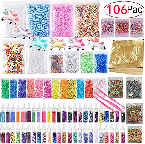 106 Pack Slime Making Kits Supplies,Gold Leaf,Foam Balls,Glitter Shake Jars,Fishbowl Beads,Fruit Slices,Fake Sprinkle...