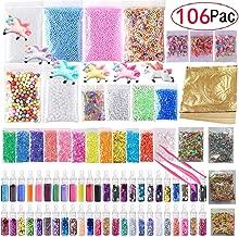 106 pack Slime Making Kits Supplies,Gold Leaf,Foam Balls,Glitter Shake Jars,Fishbowl Beads,Fruit Slices,Fake Sprinkles,Glitter Sequins Accessories, Slime Tools,Sugar Papers (Slime Kits)