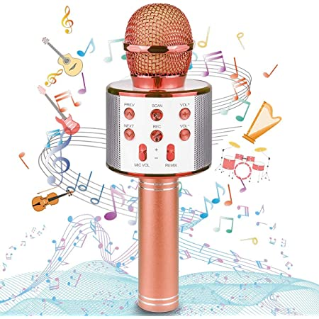 Uplayteck Micrófono Karaoke Bluetooth, Microfono Inalámbrico Karaoke Portátil con Función Selfie para Niños Canta Partido Musica, Compatible con Android/iOS PC, AUX o Teléfono Inteligente (Oro Rosa)