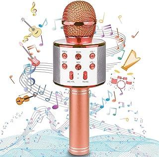 Uplayteck Micrófono Karaoke Bluetooth, Microfono Inalámbrico Karaoke Portátil con Función Selfie para Niños Canta Partido ...