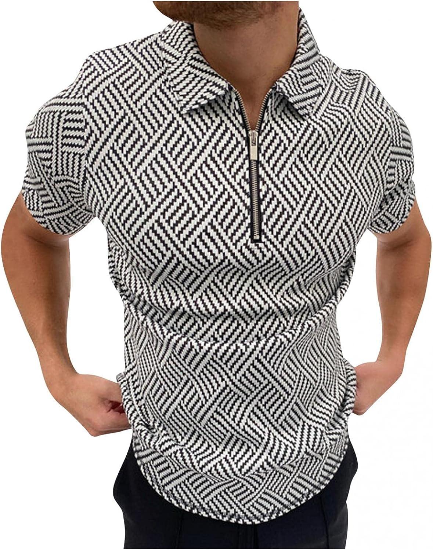 Men Polo Shirts Short Sleeve Turn-Down Collar Zipper Blouse Classic Herringbone Print Shirt Comfy Cotton Pullover Tops