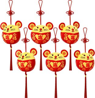 Chinese New Year Red Rat Ornament Decorations Year of The Mouse Festival Decoration Good Luck Plush Red Mascot Mouse Stuffed Animal Table Shelf Decor Home Figurines (Style A, 6 Packs)