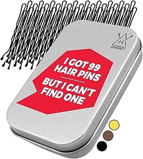 Hawwwy 300-Count Bobby Pins in Cute Storage Tin (Black Bobby Pins)