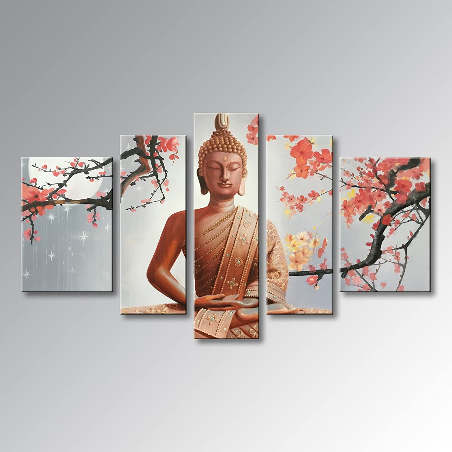 Winpeak Pure Hand Painted Framed Canvas Art Buddha Paintings on Canvas 5 paenl Wall Decor for Living Room Stretched Ready to Hang (58  W x 32  H (14 x20  x2, 10 x28  x2, 10 x32  x1))