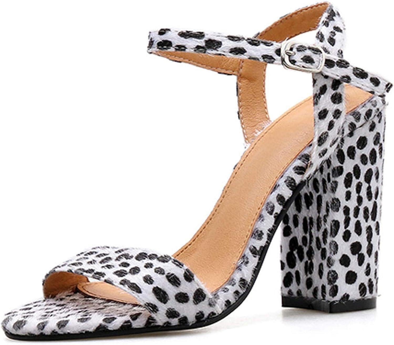 HuangKang Fashion Rome Leopard Grain Buckle Strap Summer Sandals Sexy Peep Toe Ladies High Heel 10Cm Sandals shoes