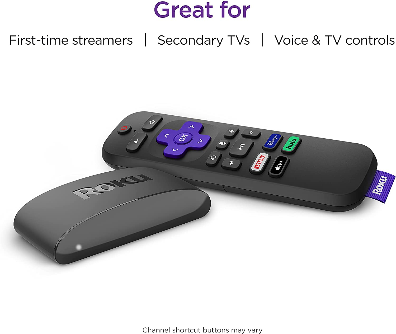 Roku Express 4K+ 2021 | Streaming Media Player HD/4K/HDR with Smooth Wireless Streaming and Roku Voice Remote with TV Controls, Includes Premium HDMI Cable