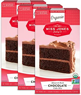Miss Jones Baking Organic Cake and Cupcake Mix, Non-GMO, Vegan-Friendly, Moist and Fluffy: Chocolate (Pack of 3