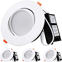 TORCHSTAR 13.5W 6 Inch Gimbal LED Recessed Light with Junction Box Air Tight, CRI90+ 3000K, Dimmable Directional Ceiling Light, 800lm, ETL, Energy Star, JA8 & T24 Listed, 5-Year Warranty, Pack of 4