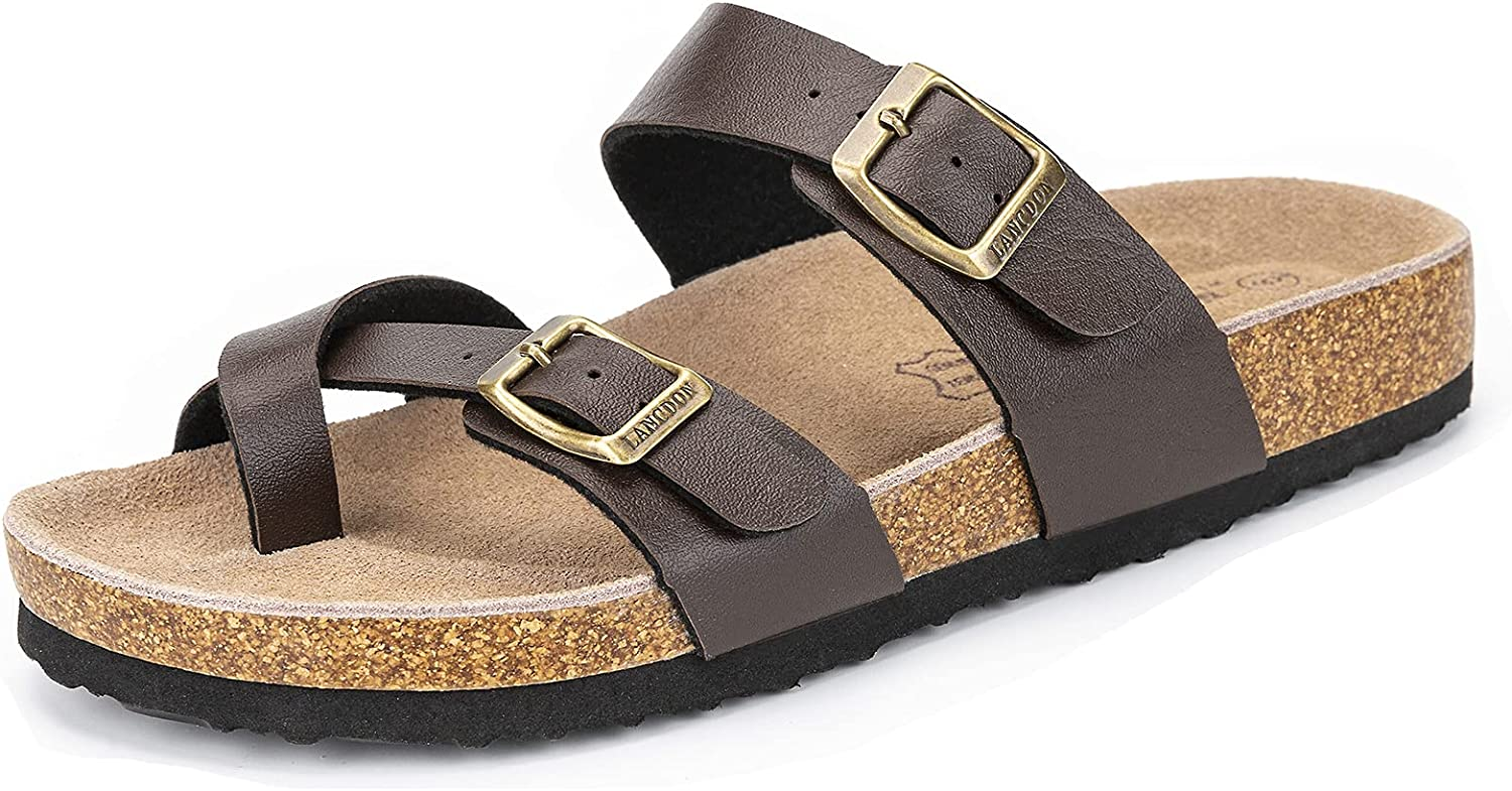 LANCDON Ladies Flat Cork Footbeds Toe Ring Slides Sandals for Women Adjustable Leather Double Strap Buckle Slippers