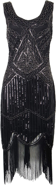 Celeblink Women's 1920s Dress V Neck Sequin Beaded Fringed Flapper Cocktail Dress