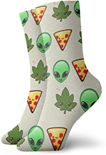 yting, Niños Niñas Locos Divertidos Weed Alien Face Pizza Calcetines Cute Novedad Dress Calcetines