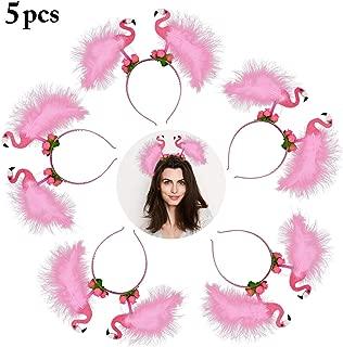 Coxeer Flamingo Headbands, 5PCS Party Head Bopper Pink Flower Party Hair Hoop Cute Hair Band for Kids Women Girls Birthday Wedding Easter Summer Beach Hawaii Party