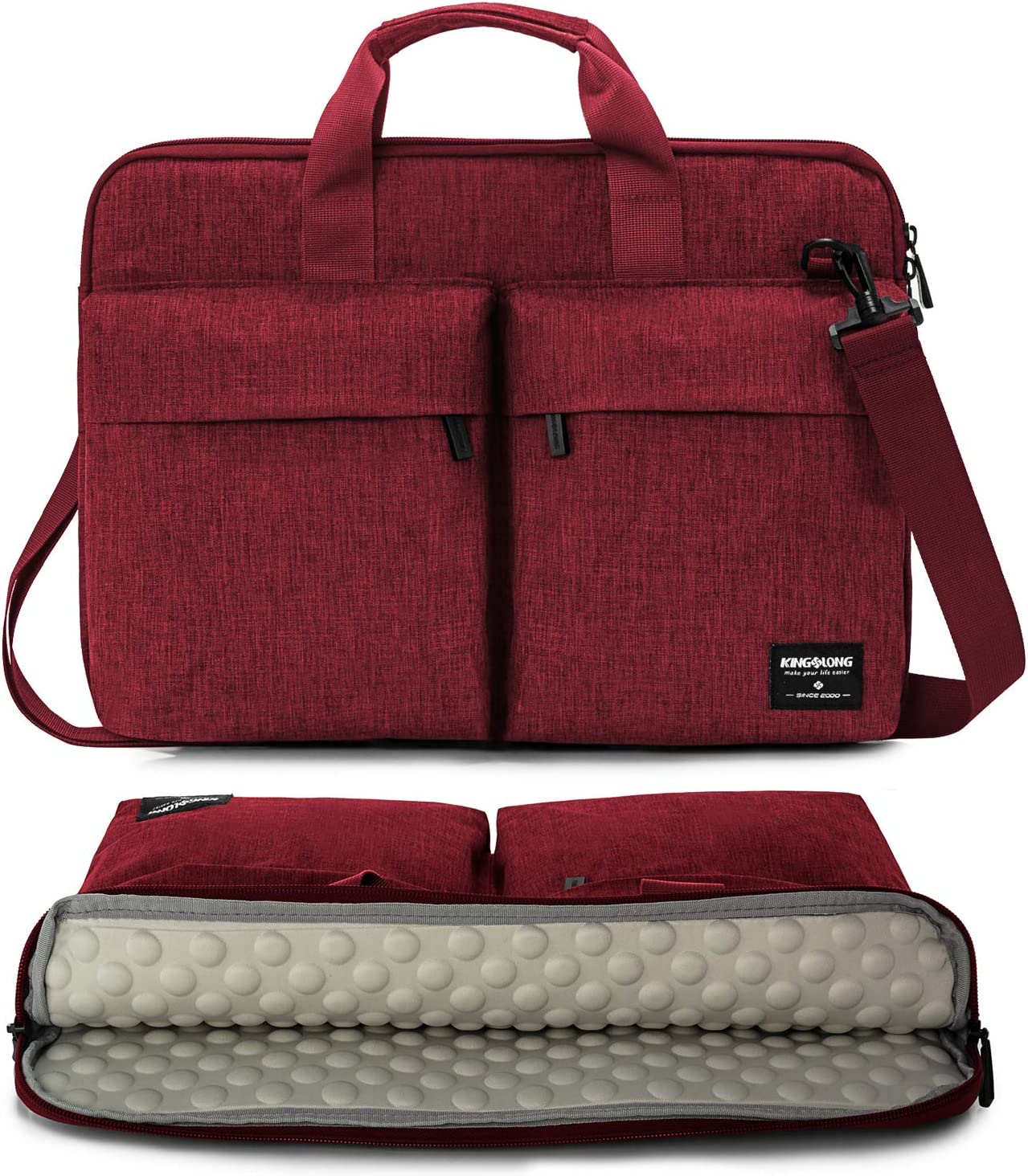 KINGSLONG 15 15.6 Inch Laptop Case Bag Sleeve, Lightweight Laptop Computer Notebook Ultrabooks Carrying Case Sleeve Handbag Cover for Men Women Fit for Acer Asus Dell Lenovo HP Toshiba, Red