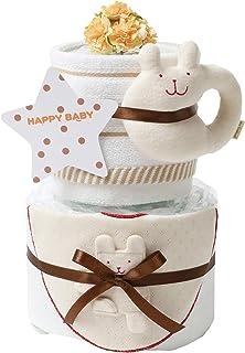 今治タオル imabari towel 出産祝い 日本製 オーガニック 2段 おむつケーキ シフィール パンパースS ベージュ 18×18×38