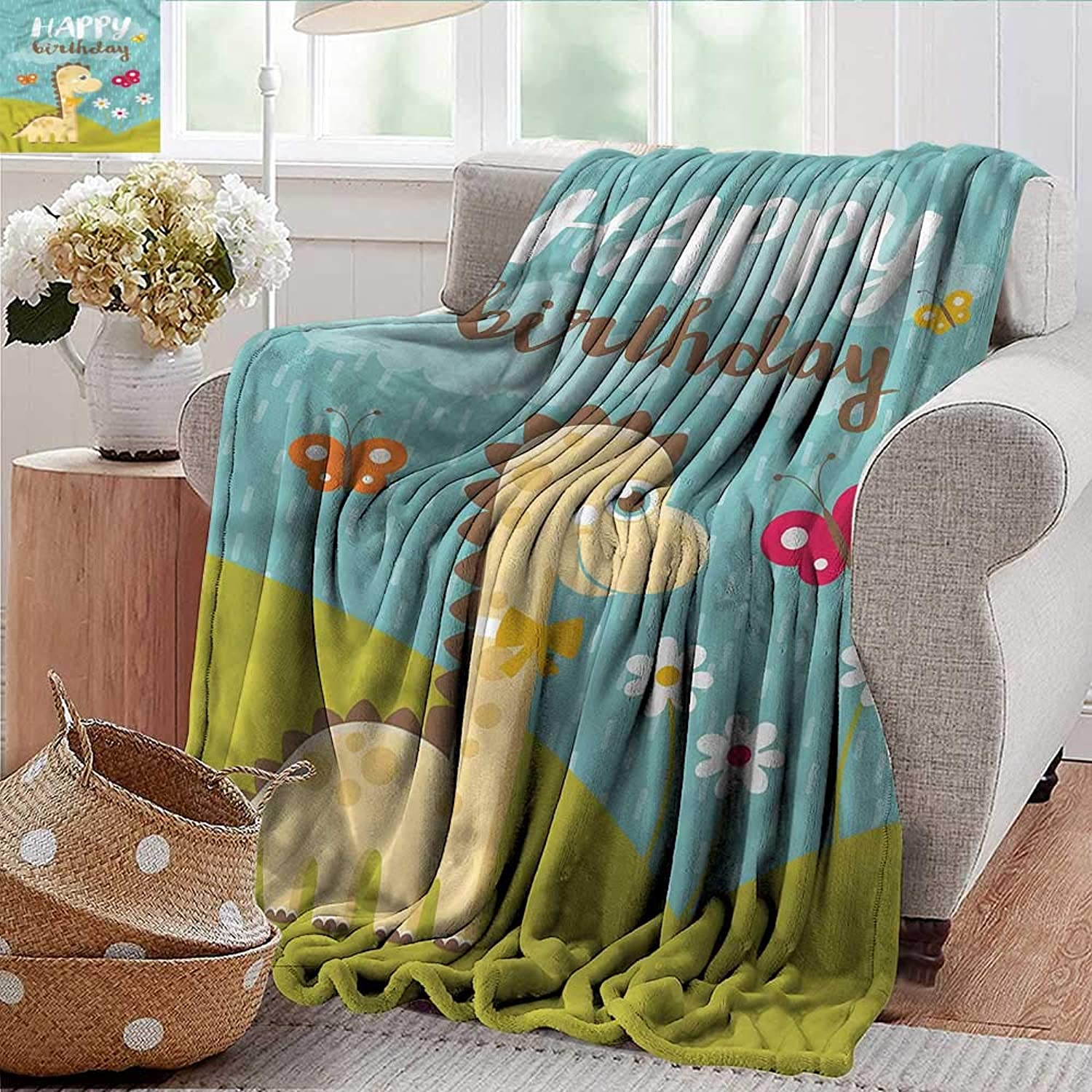 Xaviera Doherty Swaddle Blanket Dinosaur Party,Friend Baby Dino colorful   Home, Couch, Outdoor, Travel Use 50 x60