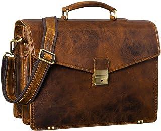 """STILORD Cosmos"""" Vintage Aktentasche Leder Groß für Herren Businesstasche mit Laptop-Fach Umhängetasche XL für Büro Arbeit mit Schloss echtes Leder, Farbe:Prestige - braun"""