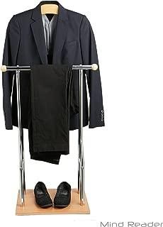 Mind Reader Steel, Bamboo, Wood Valet Suit Rack Stand, Brown