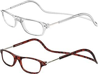TBOC Leesbrillen voor Heren en Dames - [Twee Eenheden] Transparant en Schildpad Montuur Brillen met Sterkte Regelbaar Opvo...