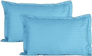 Trance Home Linen Cotton 200 TC Pillow Cover, 20 x 30 Inch, Sky Blue, 2 Pieces
