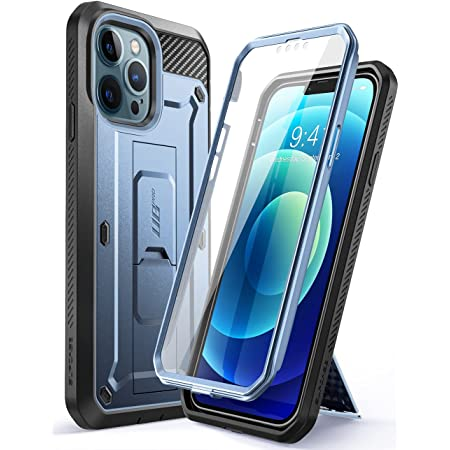 SUPCASE Unicorn Beetle Pro Series Case for iPhone 13 Pro Max (2021 Release) 6.7 Inch, Built-in Screen Protector Full-Body Rugged Holster Case (Cerulean)