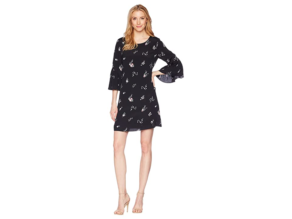 Vince Camuto Drop Shoulder Ruffle Sleeve Floral Ditsy Dress (Rich Black) Women