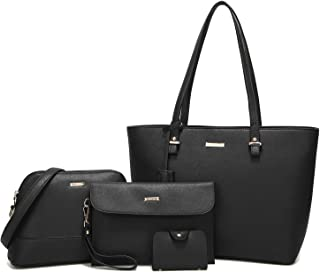 ELIMPAUL Women Fashion Handbags Tote Bag Shoulder Bag Top Handle Satchel  Purse Set 4pcs 783d6f088f99c