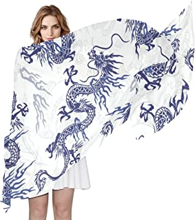 LORVIES Japanese Dragon Pattern Silk Scarf Lightweight Long Scarf Shawl Wrap for Women