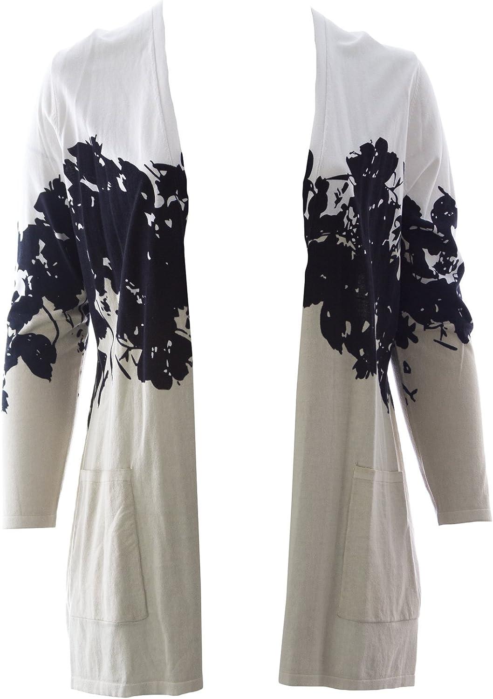 Marina Rinaldi Women's Maxi Printed Cardigan Beige White Black