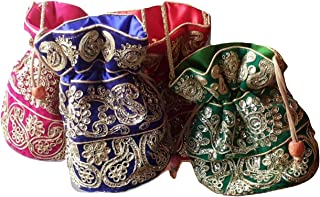 Yashvi Exportz Wholesale Lot Indian Handmade Traditional Women Zari Embroidered Potli Bag Handbag Evening Bag Purse Clutch